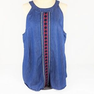 Cato Halter Denim Top Southwestern Embroidery